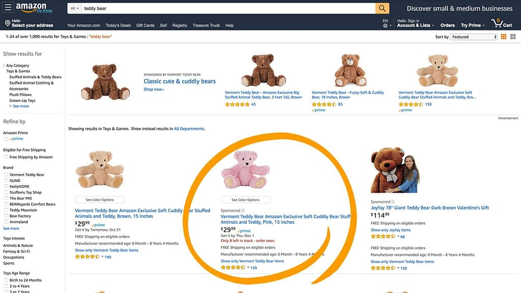 Amazon sponsored product image